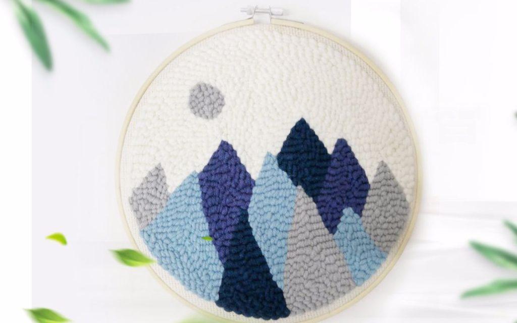 Hướng dẫn thêu len xù núi non - Punch-needle